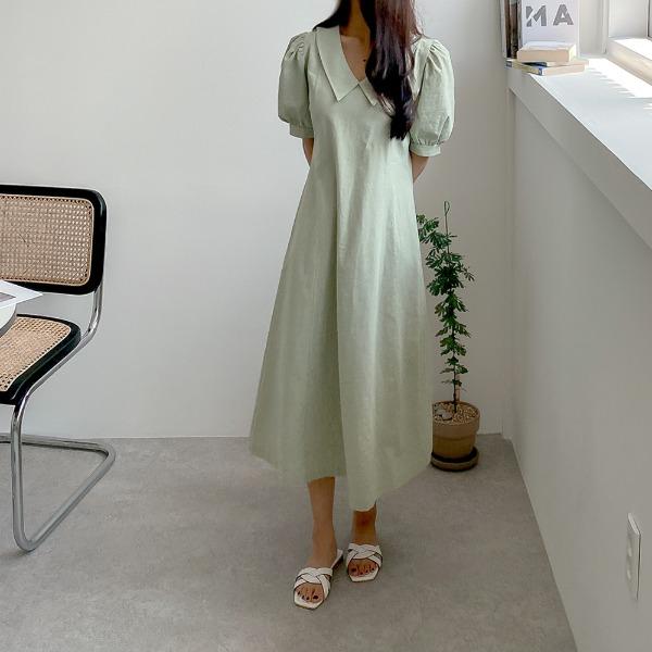 realcoco-♥NEW10%할인♥펜스 카라 스티치 롱원피스(데이트룩/나들이룩)♡韓國女裝連身裙