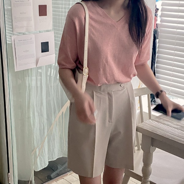 realcoco-[기획특가]노이 린넨 브이넥 니트(24,000→14,000won)(데일리)♡韓國女裝上衣