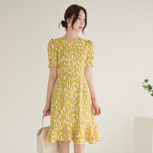 ode-[배색 터치 린넨 텍스쳐 러플 원피스]♡韓國女裝連身裙