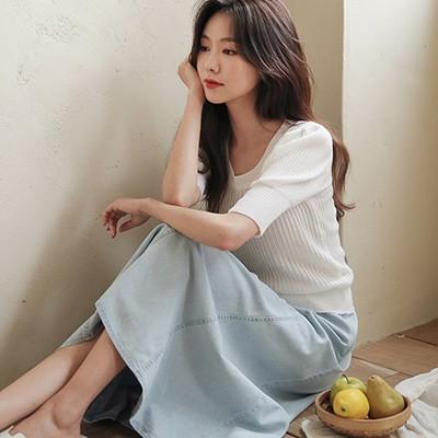 ode-[홀리데이 살랑 백밴딩 데님 스커트]♡韓國女裝裙