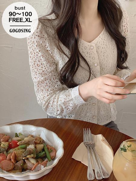 ggsing-[12일9시까지9%할인]펀칭레이스 프릴BL (가둘레,뒷리본,무료배송)♡韓國女裝上衣