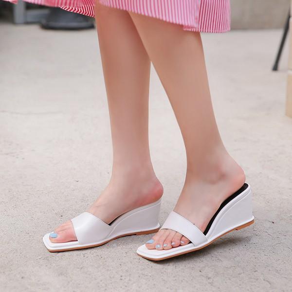 ode-[언발 스퀘어 쿠션 웨지 샌들]♡韓國女裝鞋
