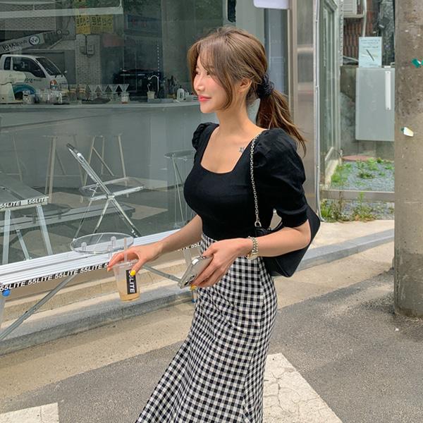 planj-퍼프 스퀘어 티셔츠♡韓國女裝上衣