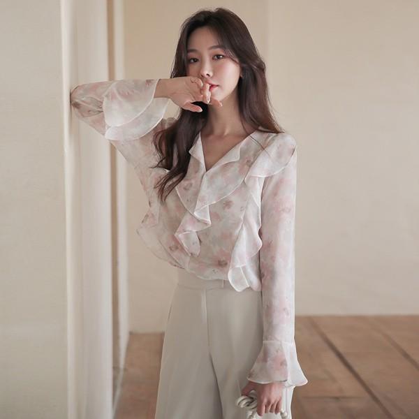 ode-[여리 플라워 러플 블라우스]♡韓國女裝上衣