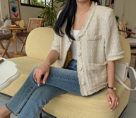 white-fox-[노카라수술트위드반팔자켓]♡韓國女裝外套