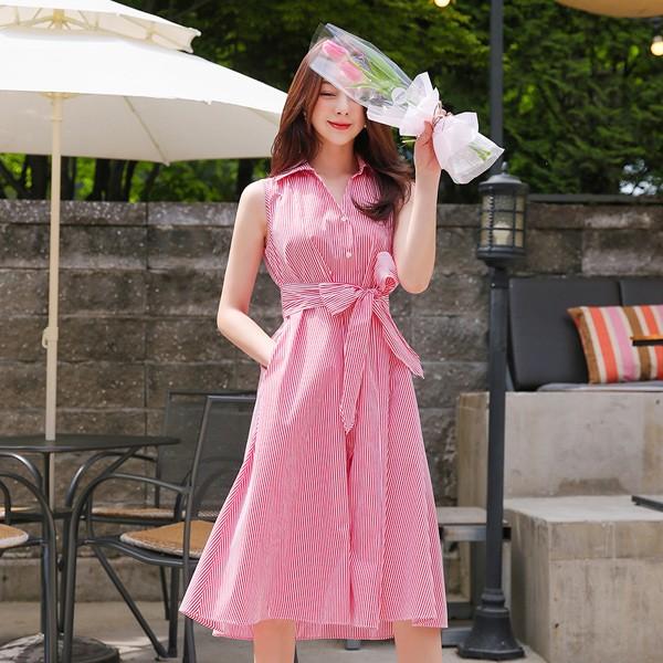 ode-[스트라이프 코튼 리본 셔츠 원피스(민소매)]♡韓國女裝連身裙