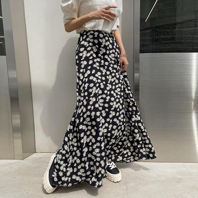 dabagirl-켈로디맥시스커트_D2SK 하의 30대여성쇼핑몰 20대여자쇼핑몰 키작은여자쇼핑몰 여성의류쇼핑몰 데일리룩 데이트룩 여친룩 블랙스커트 플라워패턴 A라인 롱 뒷밴딩 옆지퍼 하이웨스트♡韓國女裝裙