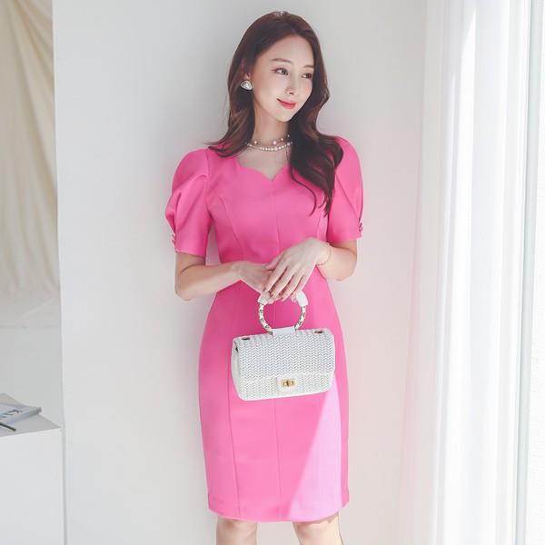 ode-[하트넥 핀턱 퍼프소매 절개라인 원피스]♡韓國女裝連身裙