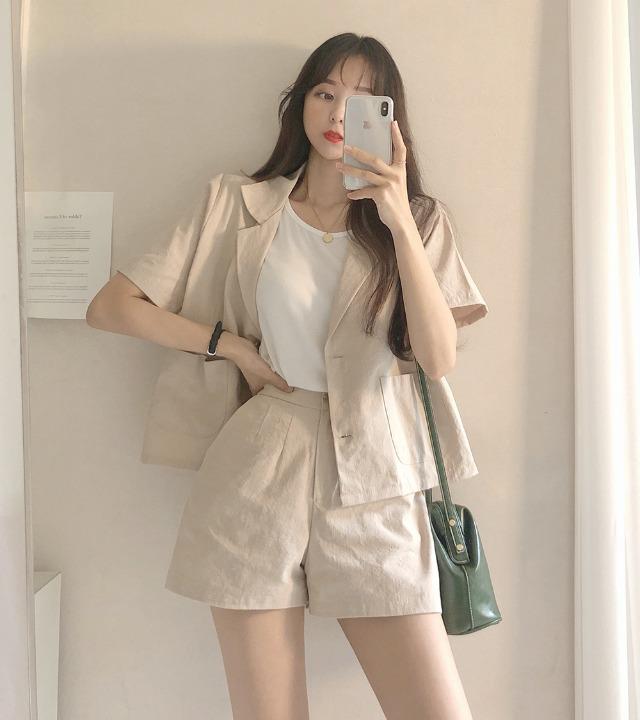 uniqueon-[투피스SET♥] 린넨 마 반팔자켓+뒷밴딩숏팬츠 셋업 세트 [H0167]♡韓國女裝套裝