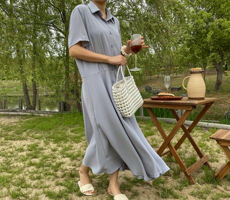 white-fox-[러블리카라플레어롱원피스]♡韓國女裝連身裙