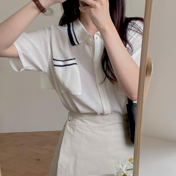 realcoco-♥NEW10%할인♥베크 배색 카라 반팔 가디건(베이직/꾸안꾸)♡韓國女裝外套