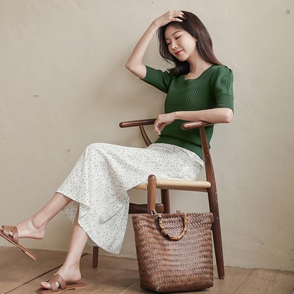 ode-[데이 로맨틱 잔꽃 백밴딩 스커트]♡韓國女裝裙