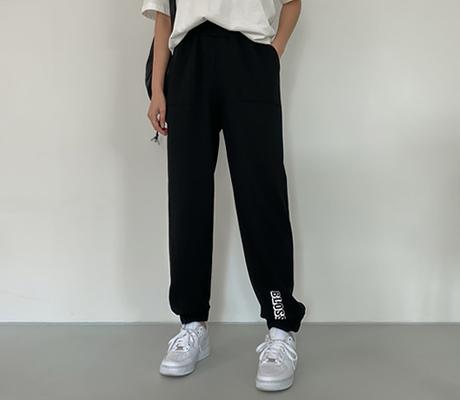 white-fox-[캐주얼레터링조거팬츠]♡韓國女裝褲