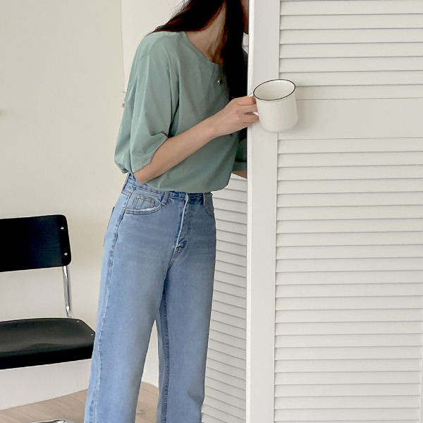 realcoco-일상 베이직 반팔 티셔츠(데일리/라운드)♡韓國女裝上衣