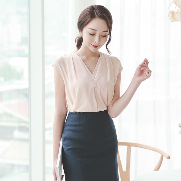 ode-[더블 브이넥 민소매 블라우스]♡韓國女裝上衣