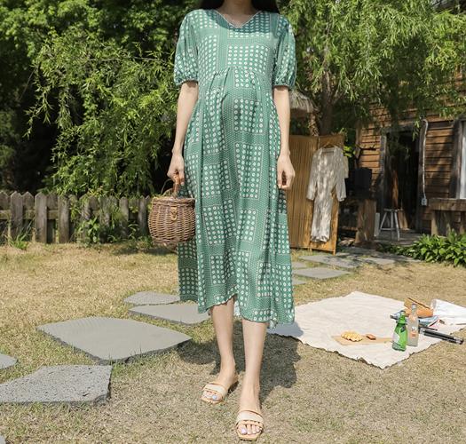 soim-[임부복*상큼톡톡퍼프 임산부원피스]♡韓國孕婦裝連身裙