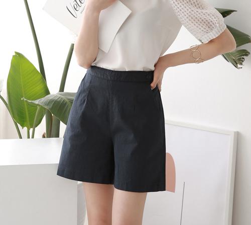 beige blanc-날씬벅지 비조 뒷밴딩 오가닉 코튼 4부 반바지]♡韓國女裝褲