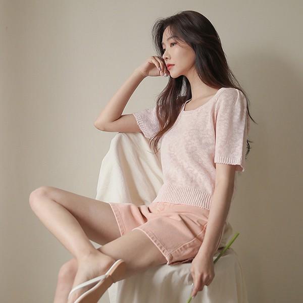 ode-[슈가 스퀘어넥 버블 썸머 니트]♡韓國女裝上衣