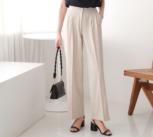 beige blanc-로드 핀턱 히든밴딩 와이드 여름 슬랙스]♡韓國女裝褲
