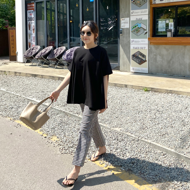 candyglow-[쿨체크 팬츠]♡韓國女裝褲