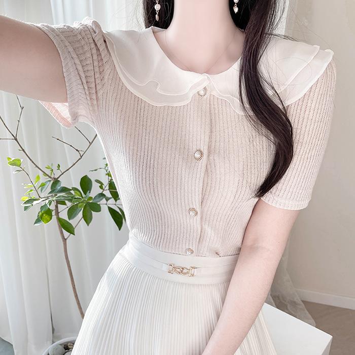 myfiona-밍크 이중카라 진주단추 골지가디건 a1512 - 러블리 로맨틱 1위 쇼핑몰 피오나♡韓國女裝外套