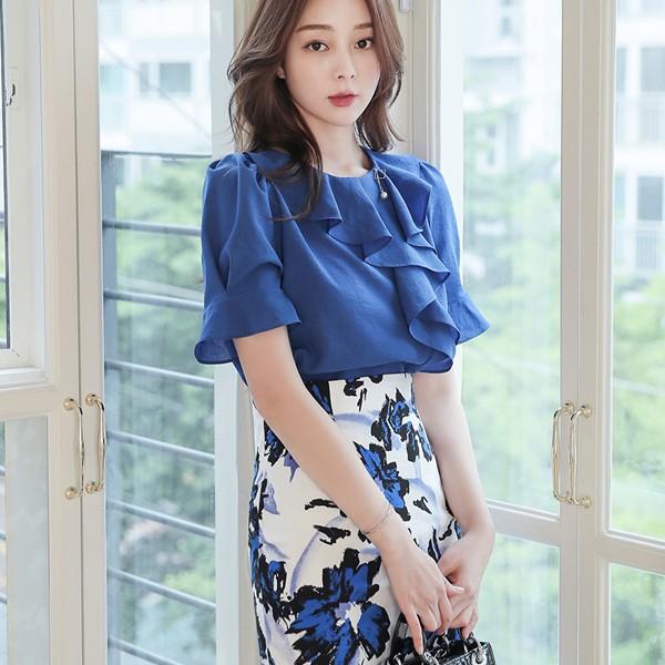 ode-[플라운스 스퀘어 진주 드롭 블라우스]♡韓國女裝上衣