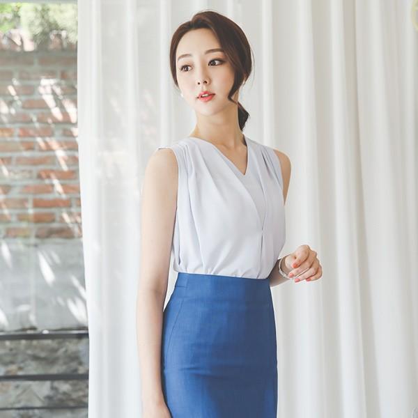 ode-[더블 브이넥 셔링 민소매 블라우스]♡韓國女裝上衣