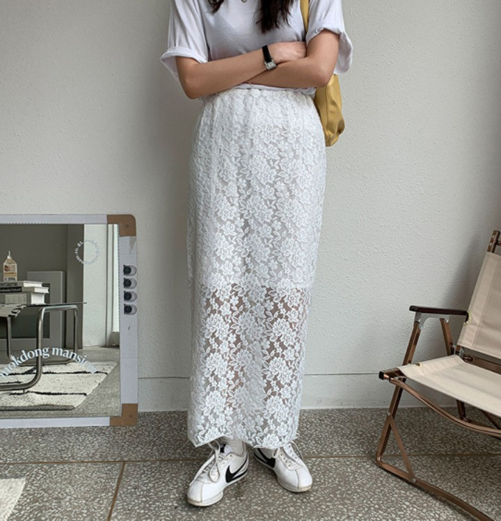 merongshop-[무료배송] 어반 레이스 롱 스커트 - 2 color♡韓國女裝裙