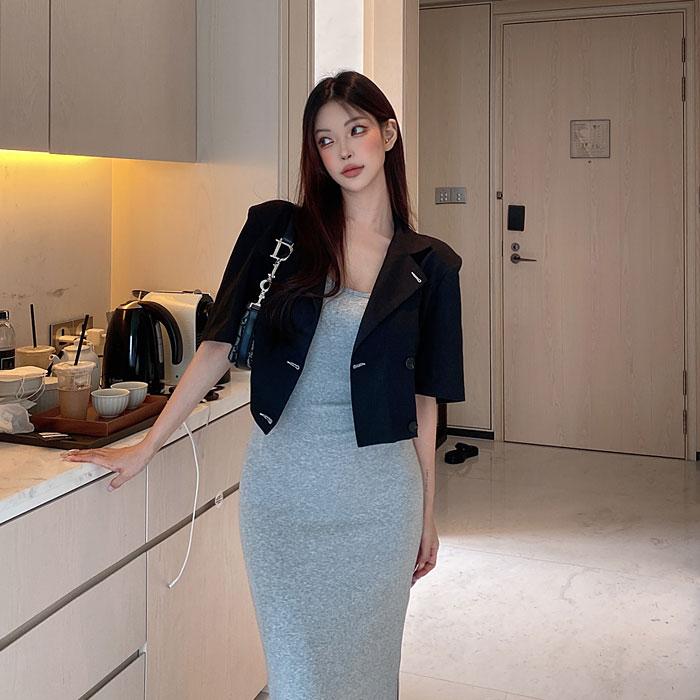 hypnotic-[프롬박시 숏자켓 [어깨패드,린넨30%]]♡韓國女裝外套