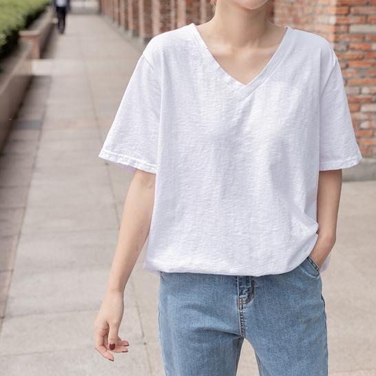 bylogin-라타구제V넥티셔츠♡韓國女裝上衣