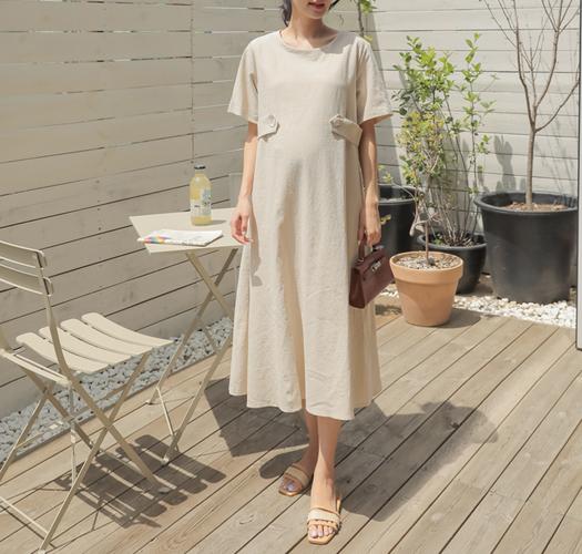 soim-[임부복*사이드벨트린넨 임산부원피스]♡韓國孕婦裝連身裙