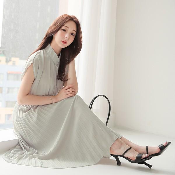 ode-[헨리넥 프렌치 슬리브 플리츠 원피스]♡韓國女裝連身裙