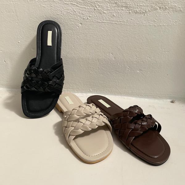 ode-[레더 위빙 인트레치 슬리퍼]♡韓國女裝鞋