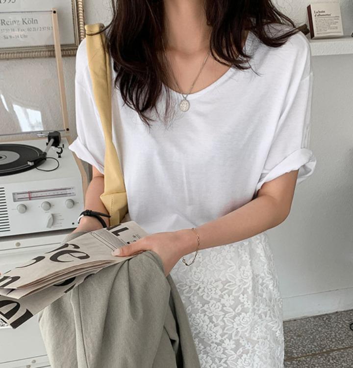 merongshop-[무료배송] 치즈 스판 레이온 티셔츠 - 6 color♡韓國女裝上衣