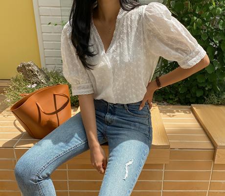 white-fox-[러블리브이넥레이스블라우스]♡韓國女裝上衣
