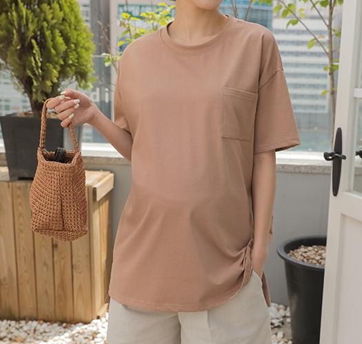 soim-[임부복*실크포켓반팔 임산부티셔츠]♡韓國孕婦裝上衣