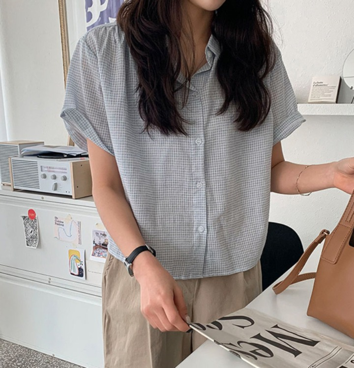 merongshop-[무료배송] 멜로 체크 반팔 셔츠 - 4 color♡韓國女裝上衣