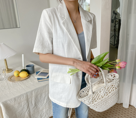 white-fox-[모던포켓스트랩린넨자켓]♡韓國女裝外套