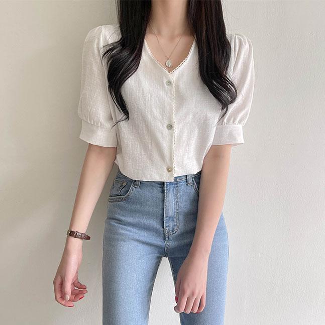 sonyunara-로제 베이직핏 브이넥 레이스 블라우스 ♡韓國女裝上衣