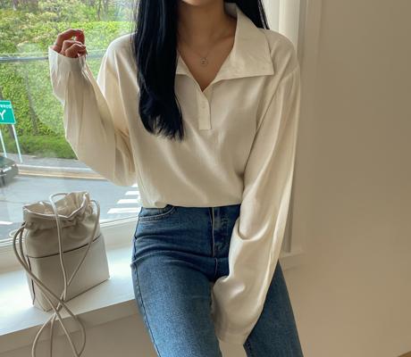 white-fox-[루즈핏버튼넥블라우스]♡韓國女裝上衣