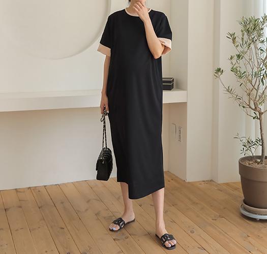 soim-[임부복*링클프리배색반팔 임산부원피스]♡韓國孕婦裝連身裙