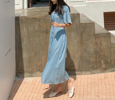 white-fox-[스모크밴딩브이넥반팔롱원피스]♡韓國女裝連身裙