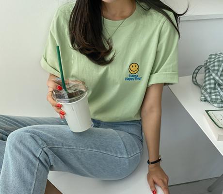 white-fox-[스마일자수워싱반팔티셔츠]♡韓國女裝上衣