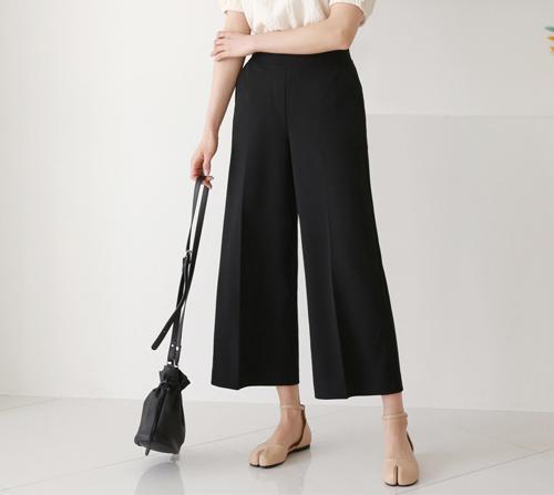 beige blanc-벤트 뱃살지우개 체형커버 와이드 슬랙스]♡韓國女裝褲