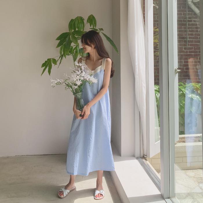 cherrykoko-[시어 체크 롱 파자마]♡韓國女裝連身裙