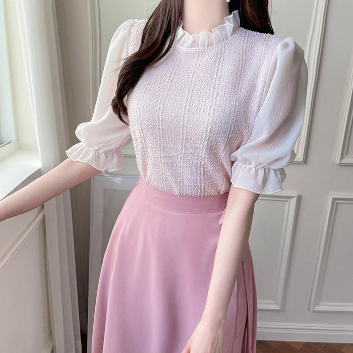myfiona-(반팔버전)베스트 트위드 프릴 블라우스 a1521 - 러블리 로맨틱 1위 쇼핑몰 피오나♡韓國女裝上衣