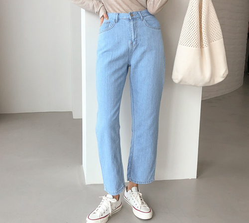 beige blanc-소다 리얼린넨 세미 와이드 데님 팬츠]♡韓國女裝褲