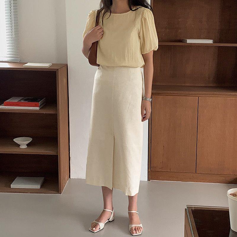 laurenhi-[Made Lauren]뉴엘 린넨 H라인 슬릿 롱 스커트 - 2 color♡韓國女裝裙