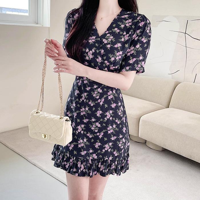 myfiona-레크 플라워 브이랩 원피스 a1525 - 러블리 로맨틱 1위 쇼핑몰 피오나♡韓國女裝連身裙