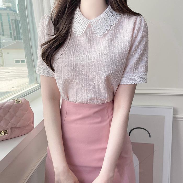 myfiona-다이브 레이스카라 트위드 티 a1523 - 러블리 로맨틱 1위 쇼핑몰 피오나♡韓國女裝上衣